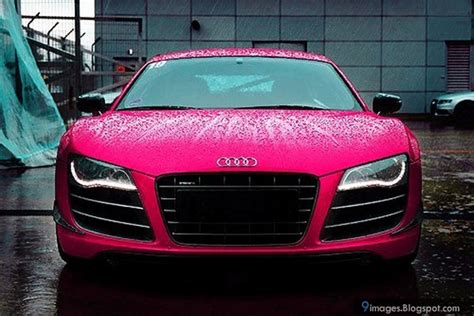 pink audi pink audi car raining wet front view