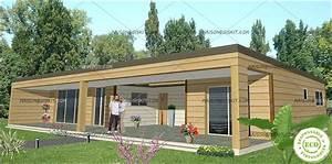 Prix Kit Maison Bois : maison bois moderne 3 chambres toit plat ~ Premium-room.com Idées de Décoration