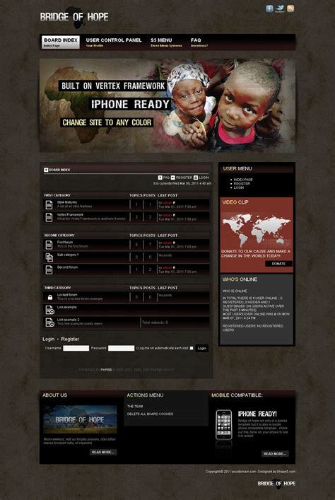 Forum Theme Bridge Of Premium Phpbb3 Style For Charity Forums