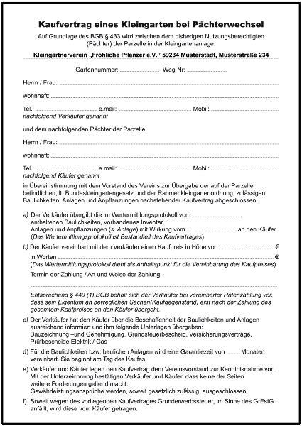 Kaufvertrag Kleingarten (pächterwechsel)  Formulare Gratis
