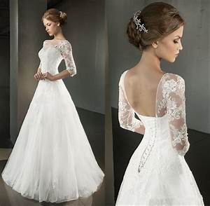 2016 spring a line wedding dresses half sleeve open back for Wedding dress corset back