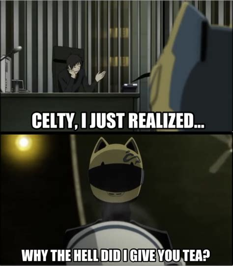 Durarara Memes - durarara meme disclaimer for those who don t get this celty can t eat or drink anime