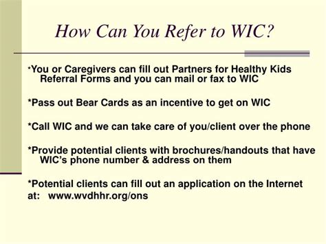 wic phone number ppt wic infants and children powerpoint