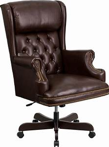 High, Back, Traditional, Tufted, Brown, Leather, Executive, Office, Chair, Ci