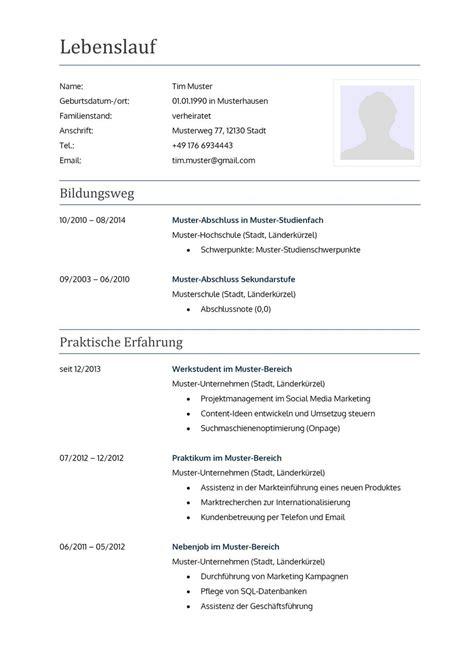 Muster Tabellarischer Lebenslauf by Lebenslauf Muster F 252 R Lehrer Lebenslauf Designs