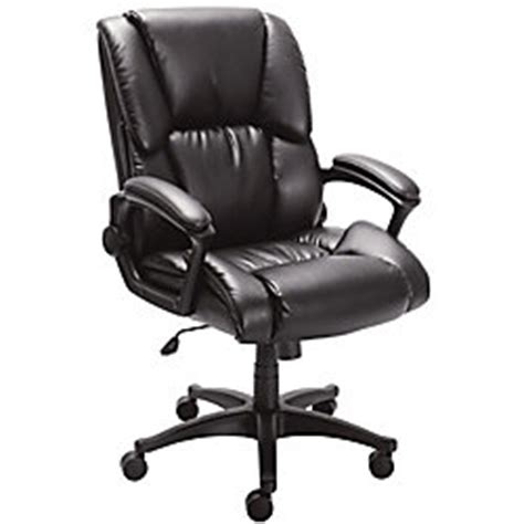 realspace caldina ii bonded leather mid back chair black