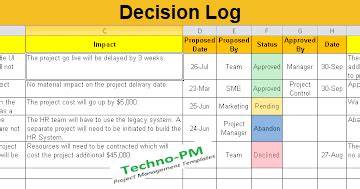 decision log excel template  excel templates