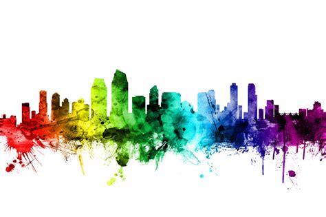 san diego california skyline rainbow wall murals