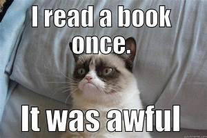 Grumpy Cat reads books - quickmeme