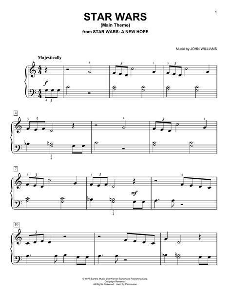 star wars main theme piano sheet music by john williams