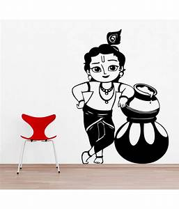 Decor Kafe Bal Krishna Wall Sticker - Black: Buy Decor
