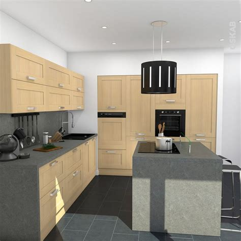ilot cuisine en l cuisine bois verni rustique modèle basilit bois verni