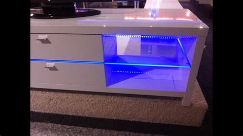 Blue Led Lights Edge Lit Glass Tv Table Backlighting How