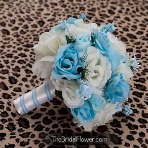 Cream and light blue bridal bouquet something blue vintage