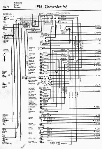 wiring diagram for 1963 chevrolet v8 biscayne belair and impala part 1 circuit wiring diagrams