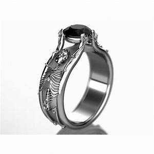 halloween skeleton engagement ring in white gold With halloween wedding rings