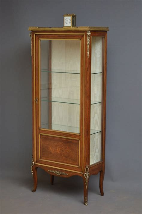 Continental Vitrine  Rosewood Display Cabinet Antiques