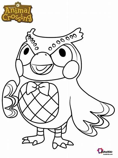 Crossing Animal Coloring Blathers Coloriage Character Owl