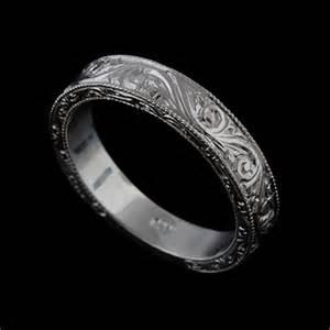 mens wedding bands engraved 14k solid white gold deco style engraved mens wedding band orospot jewelry on artfire