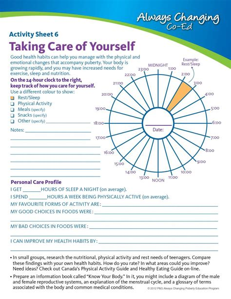 education com worksheets printables physical education worksheets for middle school taking care phe canada education