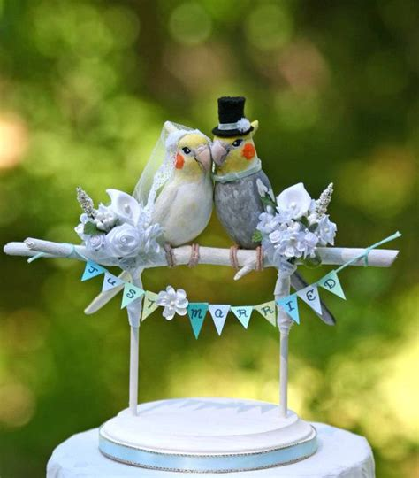 birds wedding cake topper cockatiel birds wedding cake topper