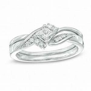 1 4 ct tw princess cut diamond bridal set in 10k white With wedding ring sets zales