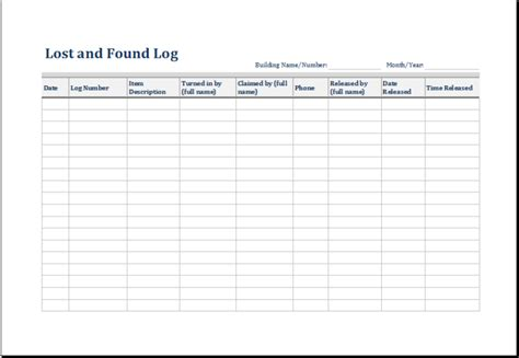lost   log form template excel microsoft