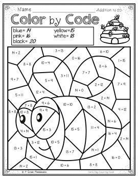 color by code math activities for earth day grades 1 2