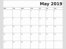 May 2019 Free Printable Calendar