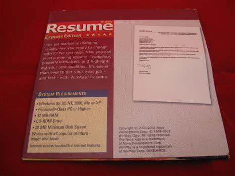 Resume Express by Winway Resume Express Edition 2001 Resume Builder For Pc
