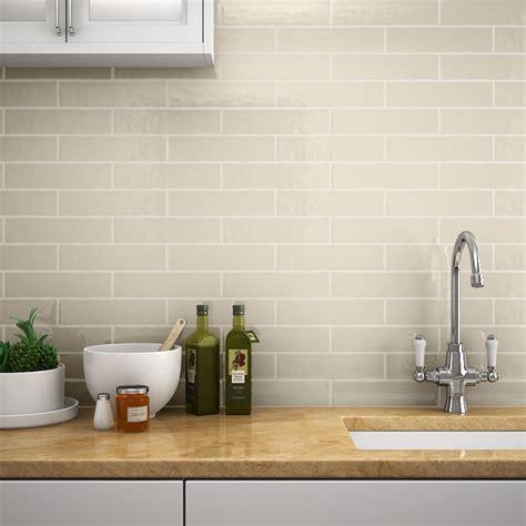 Mileto Brick Bone Gloss Ceramic Wall Tile  75 X 300mm