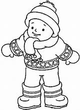Coloring Winter Clothes Pages Boy Wearing Boots Hat Coat Mittens Preschool Kindergarten Worksheets Crafts Toddler sketch template