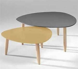 Table Salon Scandinave : table basse gigogne laqu e gris et moutarde egon ~ Teatrodelosmanantiales.com Idées de Décoration