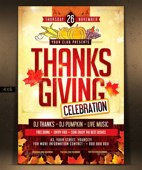 psd thanksgiving flyer templates print idesignow