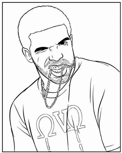 Drake Coloring Rapper Pages Famous Drawing Easy
