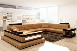Canape Angle Marron : canap d 39 angle en cuir italien 8 places majestic marron mobilier priv ~ Teatrodelosmanantiales.com Idées de Décoration