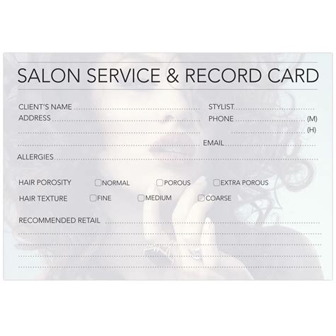 client record card beauty template client record cards hair beauty ink