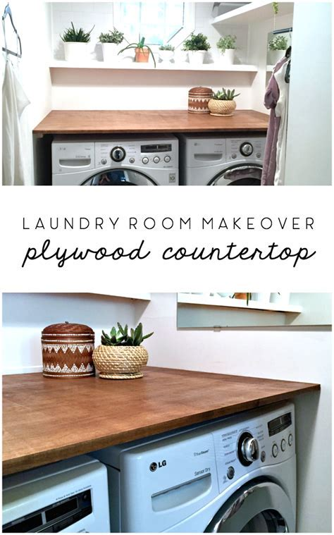 Laundry Room Makeover: DIY Plywood Countertop   IDEAS FOR