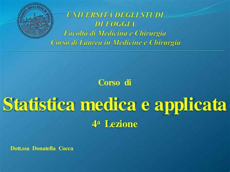 dispense medicina statistica medica fenomeni probabilistici dispensa
