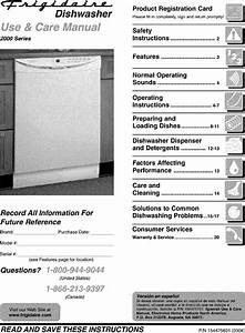 Frigidaire Fdb2310lcc2 User Manual Dishwasher Manuals And