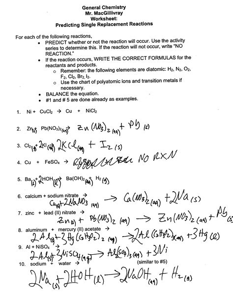 single replacement reaction worksheet answer key