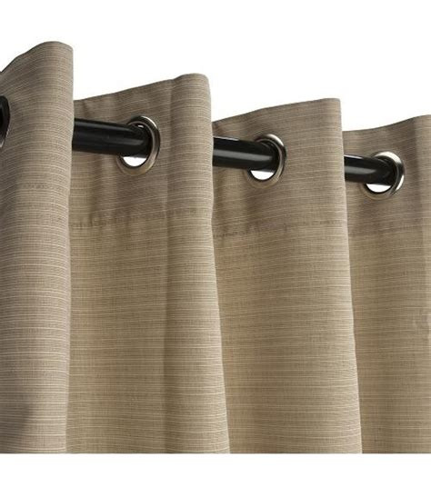 sunbrella outdoor curtain with nickel grommets dupione sand