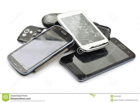 broken phones broken smart phones stock image image of isolated