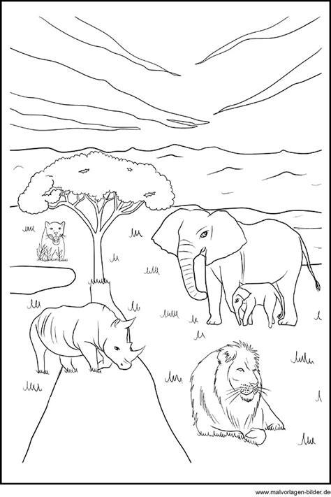 ausmalbild von tieren die  afrika leben