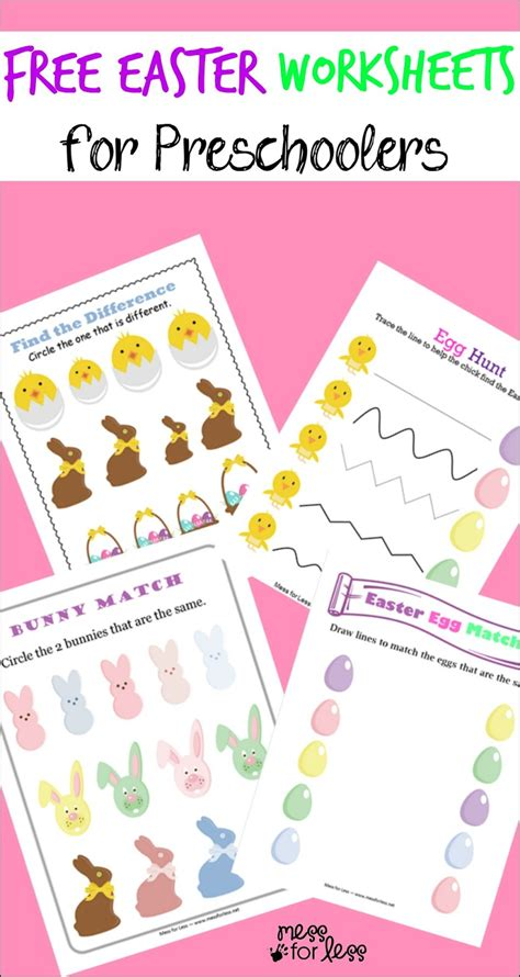 free easter preschool worksheets mess for less 326 | easter preschool worksheets1