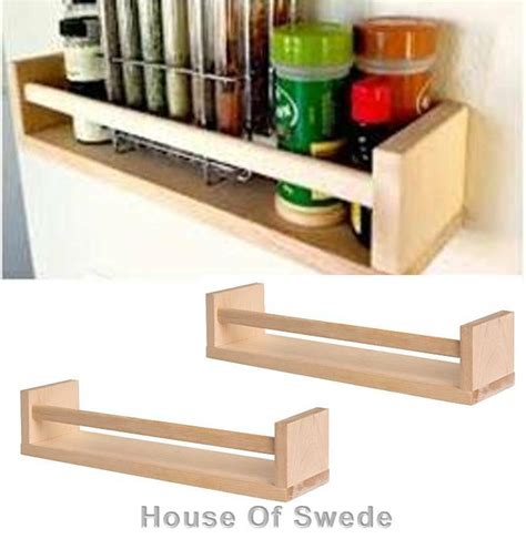 Ikea Wooden Spice Rack by 2 X Ikea Wooden Spice Rack Solid Birch Wood Kitchen Wall