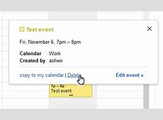 Google Calendar web adds a trash can to delete and restore