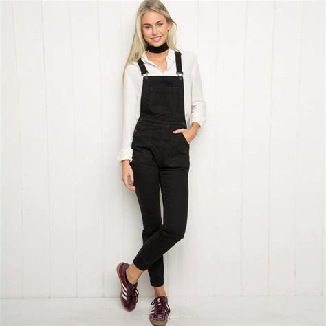 Womens Jumpsuits Black Denim Overalls Casual Skinny