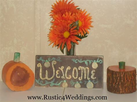 rustic 4 weddings wood pumpkins and shabby chic pumpkin welcome sign for sale for fall decorations