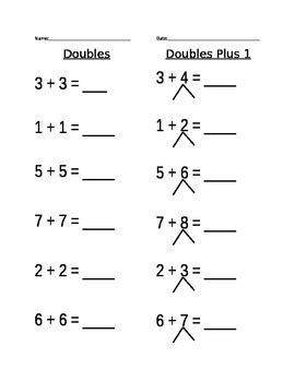 doubles plus 1 worksheet by lipori teachers pay teachers